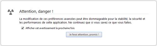 Firefox - Avertissement about:config