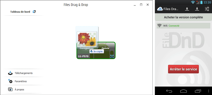 L'application Files Drag & Drop sur PC et smartphone